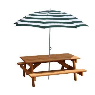 Amazing Gorilla Playsets Childrenu0027s Picnic Table With Umbrella, Brown