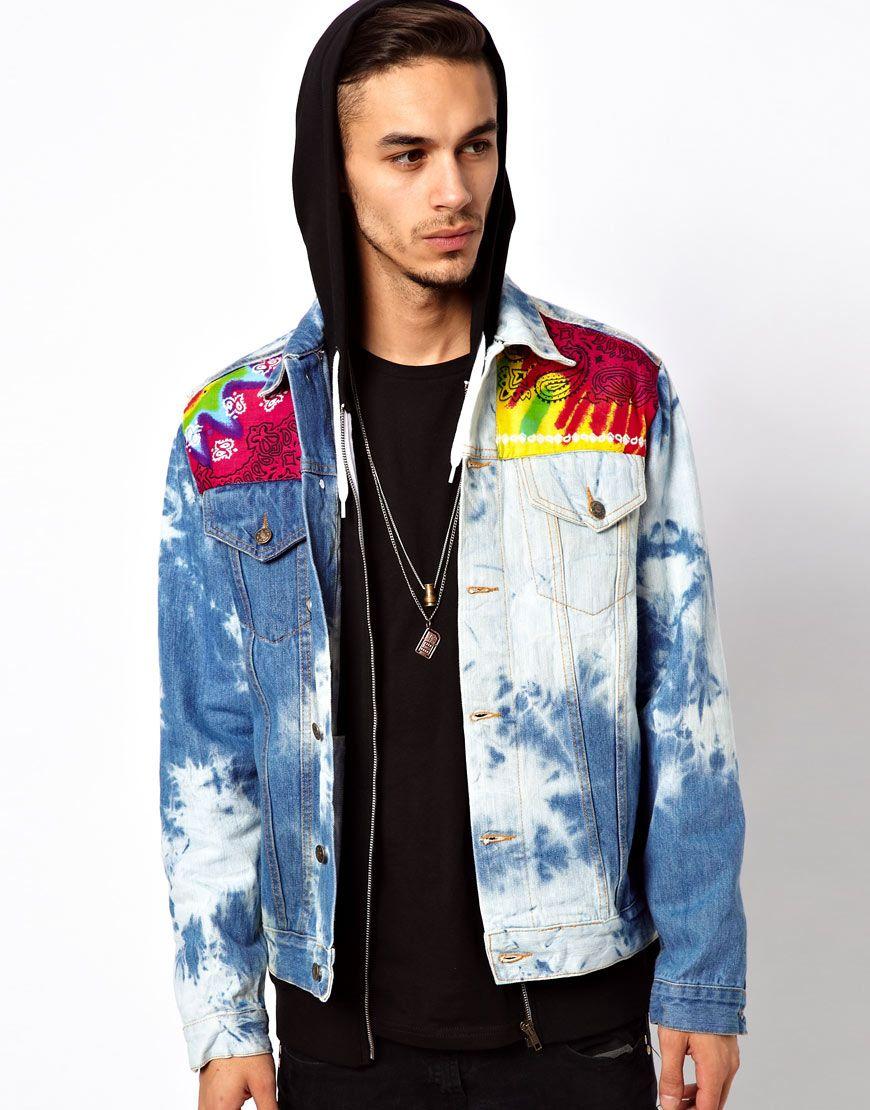 65f85aa0c6d tie dye denim jacket | DENIM JACKET ASOS BLEACH TIE DYE BANDANA ...