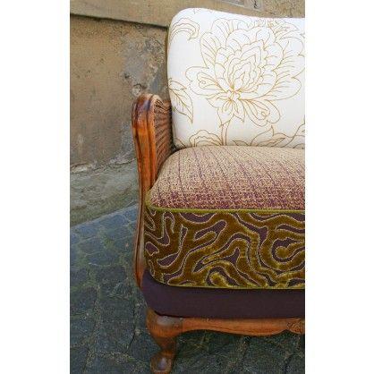 Stilvoller Vintage Sessel Mit Aussergewöhnlicher Stoffkombination  (upcycled) Von Ute Günther Wachgeküsst   Qip Home