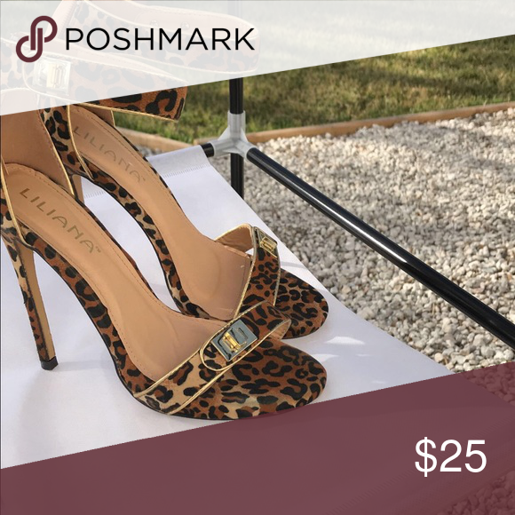 fb5e3dbd23cb Liliana Cheetah Print Stilettos Cheetah print heels with gold buckel detail  and ankle strap.....Like new worn once Liliana Shoes Heels