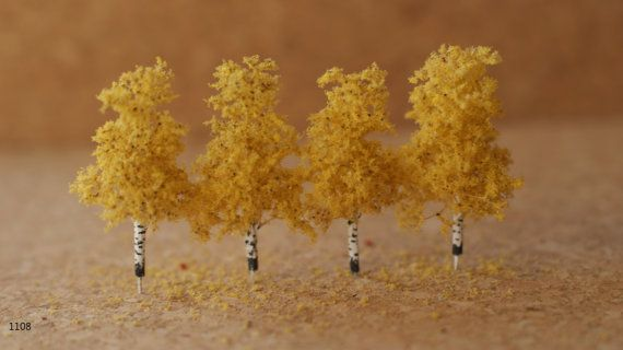 Miniature Birch Tree Set Of 4 Z Scale 1 300 1 200 For Scenery Farm Layouts Model Railroads And Architecture And Landscape Farm Layout Birch Tree Tree