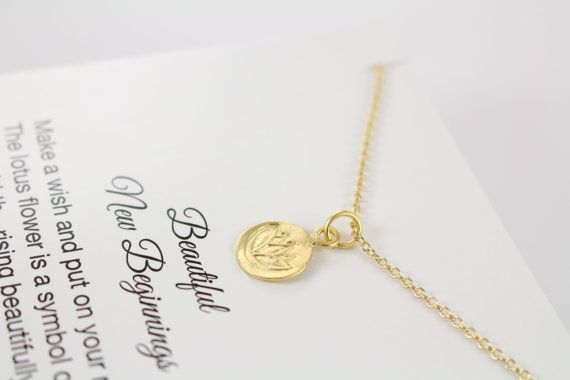 Gold Lotus Necklace and I thoughful / personalized card by ShinyLittleBlessings on Etsy