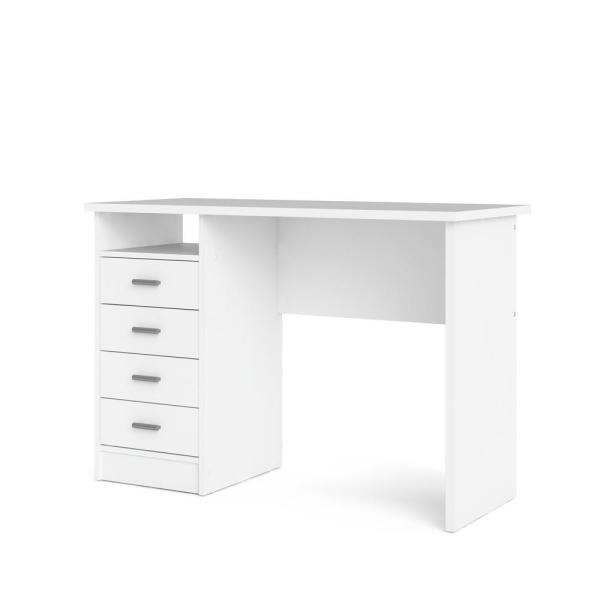 Tvilum 44 In Rectangular White 4 Drawer Writing Desk With Built In Storage 8014649 The Home Depot In 2020 Tvilum Desk With Drawers White Desk With Drawers