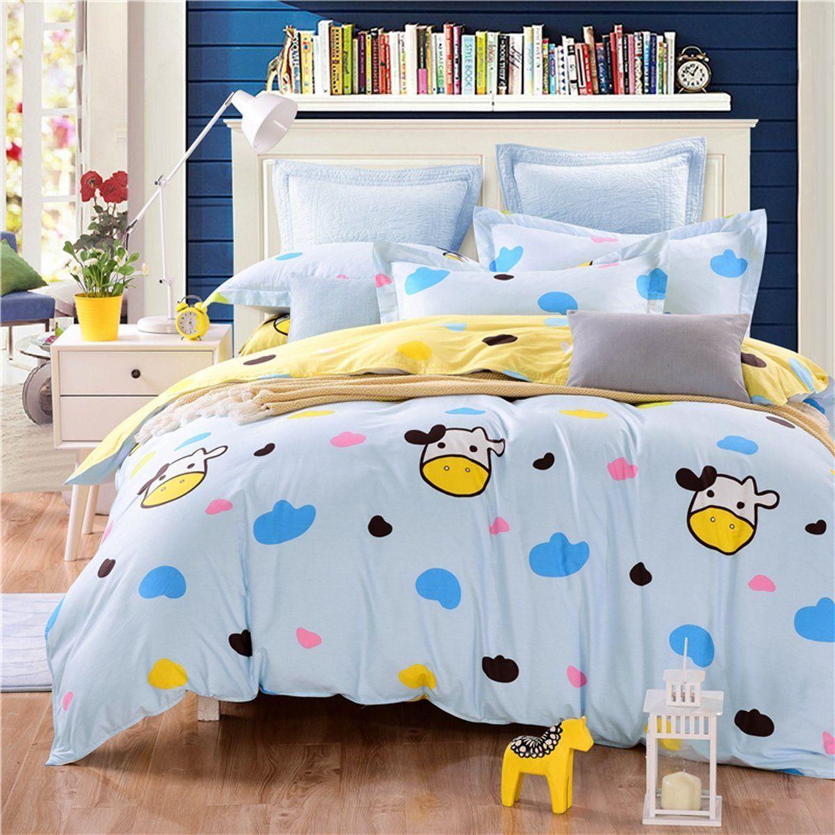 Best Casa 100 Cotton Kids Bedding Dairy Cow Duvet Cover Set 400 x 300
