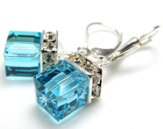 Turquoise Crystal Earrings Teal Cube Swarovski by fineheart, $28.00