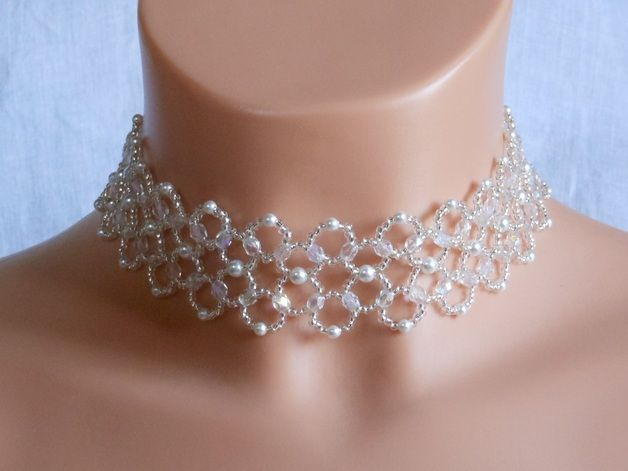 new high quality many styles new lower prices Bijoux, Collier ras de cou mariage Perle et Cristal est une ...
