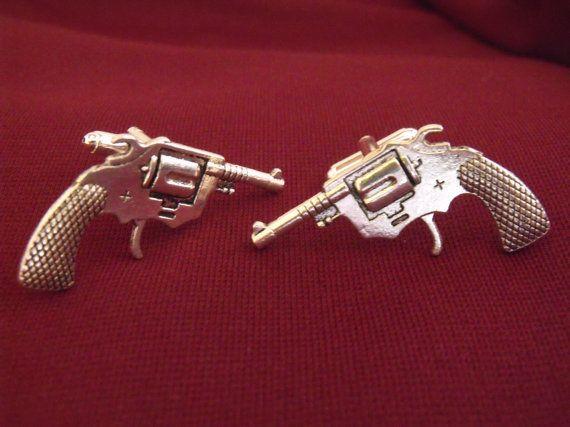 Handgun Silver Tone CuffLinks Groomsmen Cufflinks Groomsmen Gifts Jewelry For Men Best Gift For Dad Gifts for Him