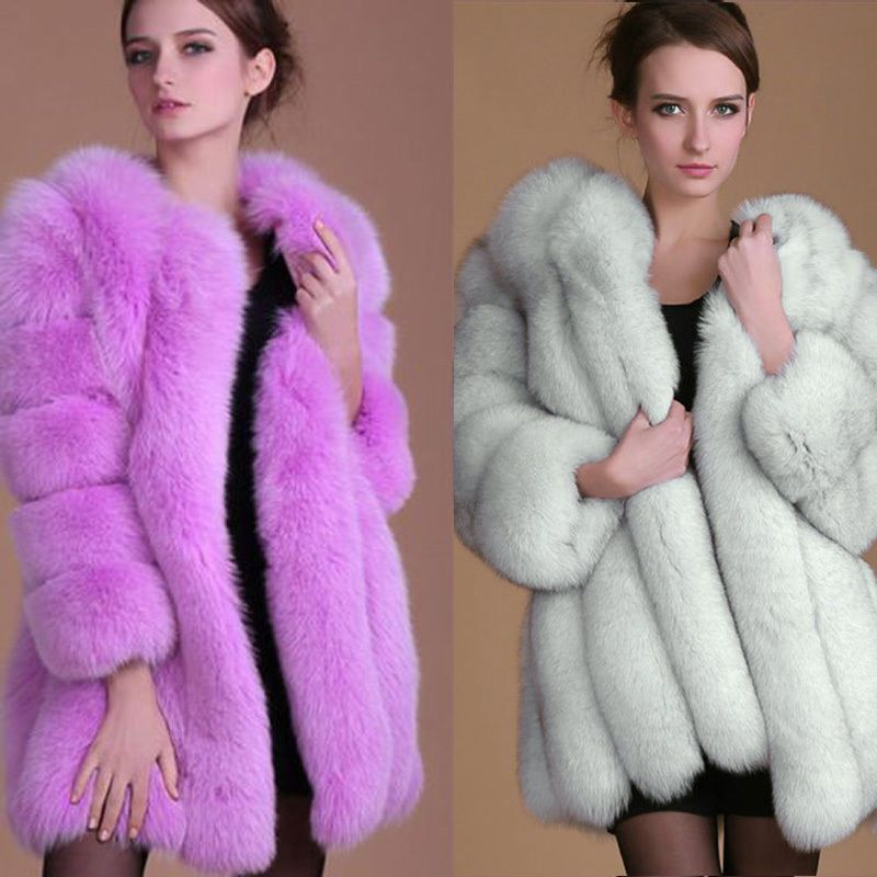 9476e5e9580 Women Long Faux Fox Fur Winter Coat Jacket Warm Parka Outwear Thick  Overcoat Top  Unbranded  BasicCoat