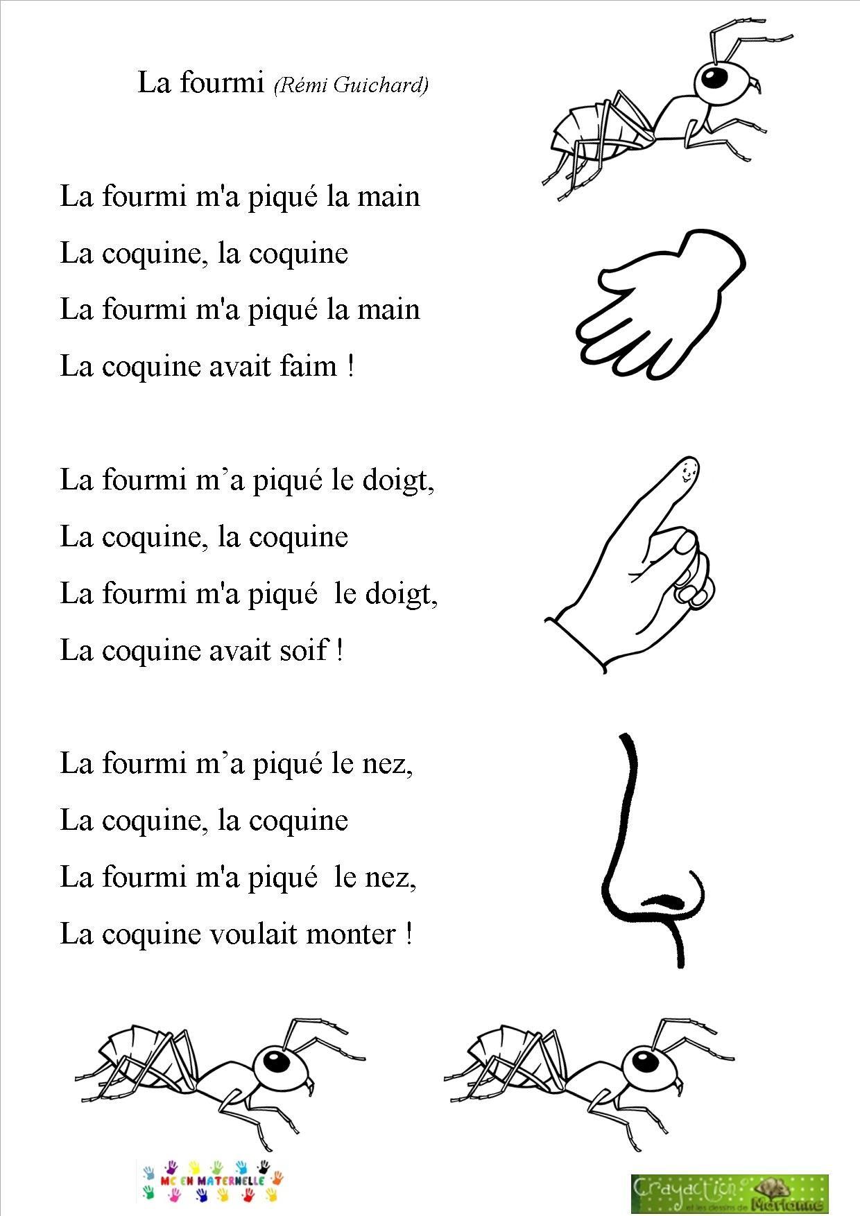 La Fourmie M'a Pique La Main : fourmie, pique, Chansons/comptines, Maternelle, Chansons, Comptines,