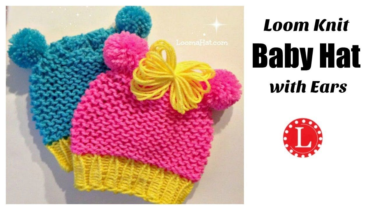 Loom Knit Baby Hat with Ears ( Round Loom ) Animal Ears | LoomaHat ...