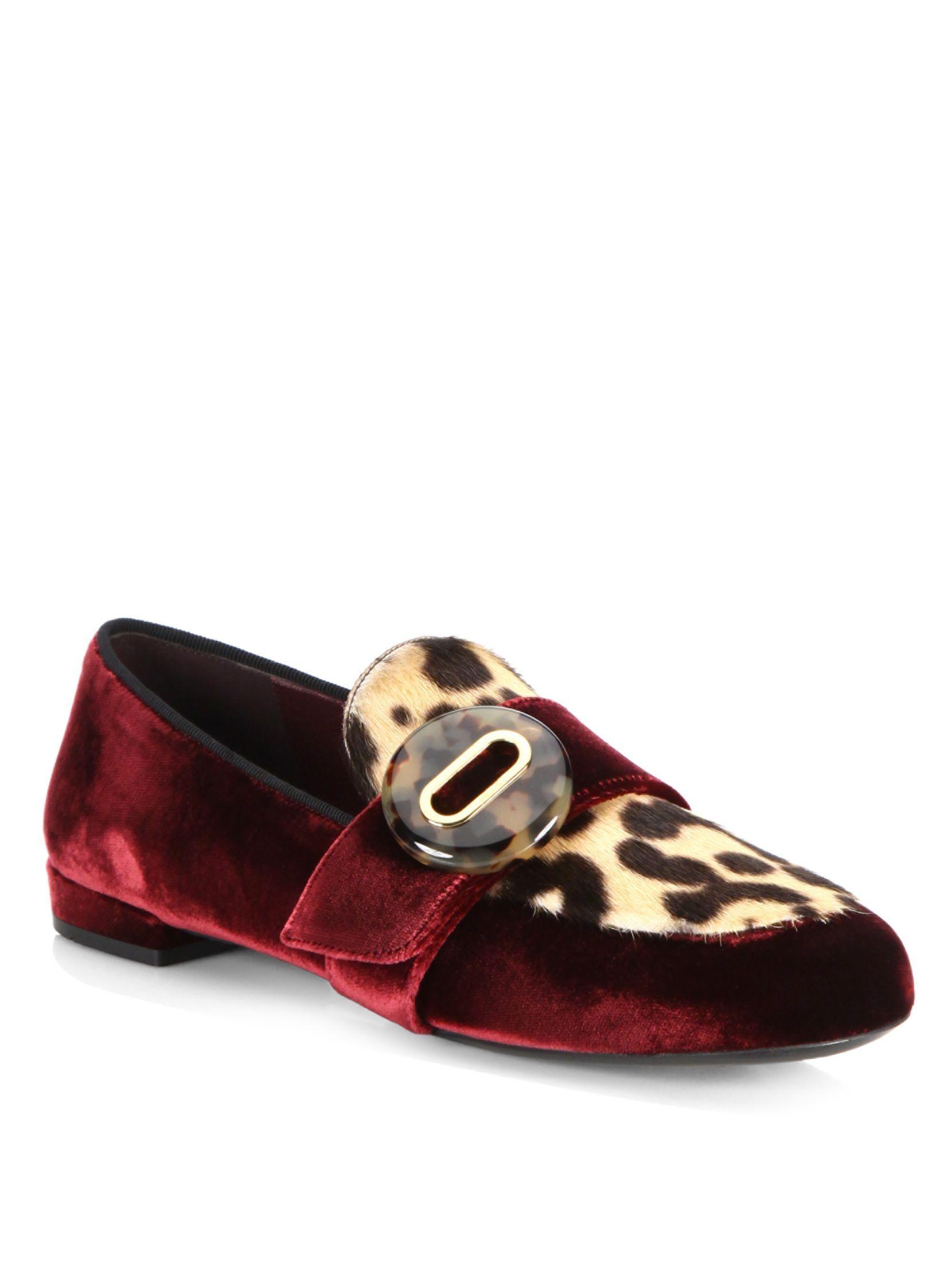 Prada Leopard-Print Calf Hair & Velvet Loafer