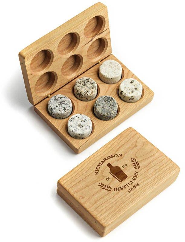 Personalized Whiskey Stones Boxed Set Personalized Whiskey Stones Personalized Whiskey Recycled Granite