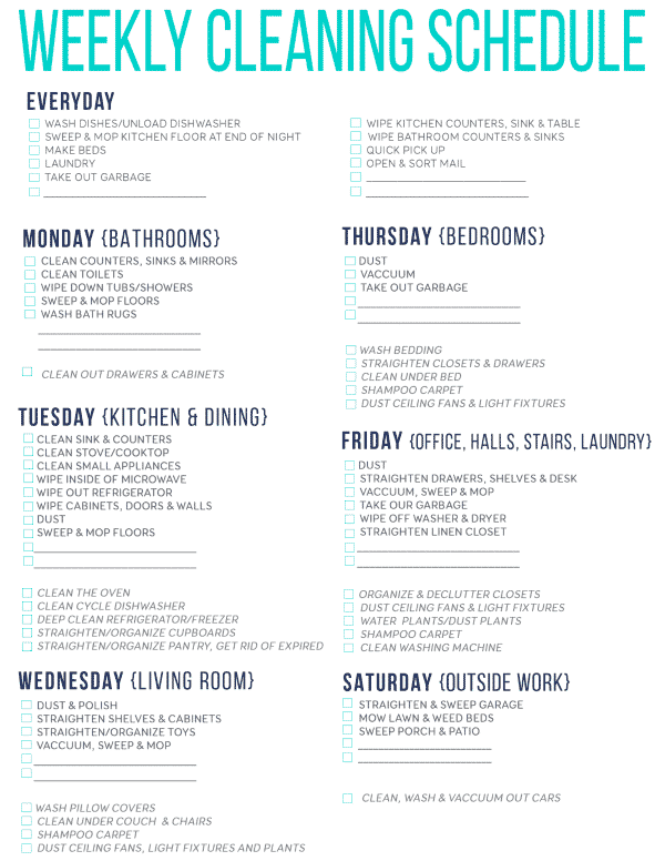 Free Printable Cleaning Schedule For Spring