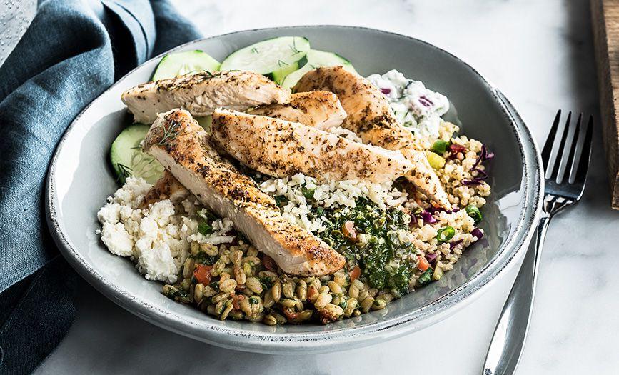 Mediterranean Salad Trio Bowl Pesto Farro Zesty Quinoa