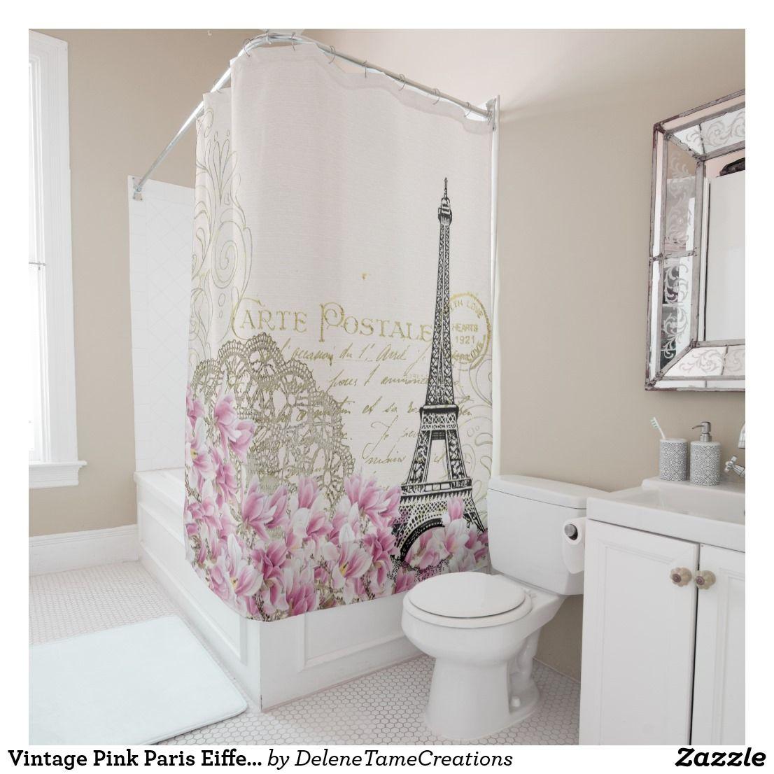 Romantic Vintage Paris In Springtime Eiffel Tower Shower Curtain