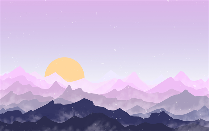 Download wallpapers 4k, mountains, sun, forest, pink landscape, minimal
