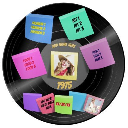Any Year Born 60s 70s Vinyl Record Photo Custom Plate Birthday Gifts Giftideas Present Party Custom Plates Custom Tiles Vinyl Records