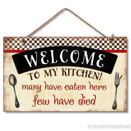 New Wood Hanging Wall Sign WELCOME TO KITCHEN Retro Funny Plaque Vintage  Decor #Novelty