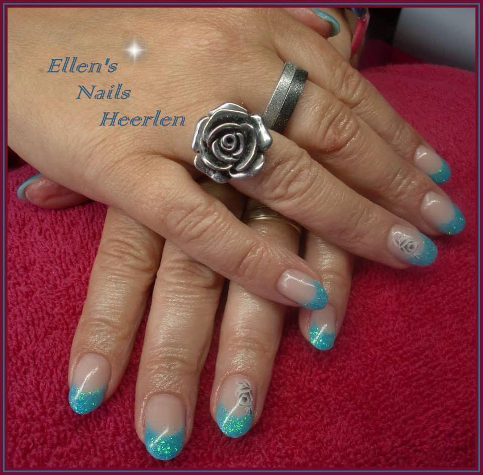 French Manicure met glitters - Nagelstudio Ellen\'s Nails   Pinterest