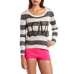 """Love"" Hi-Low Striped Sweater at Charlotte Russe"