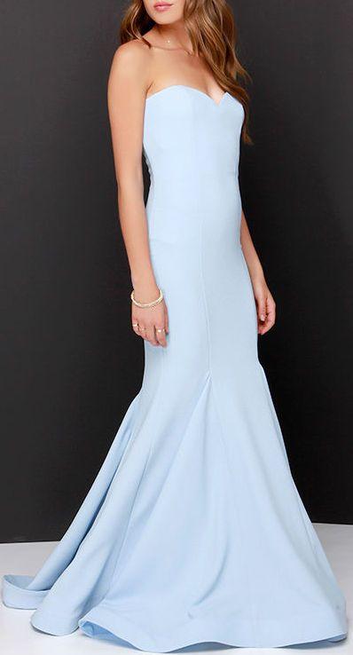 Sorella light blue strapless maxi dress