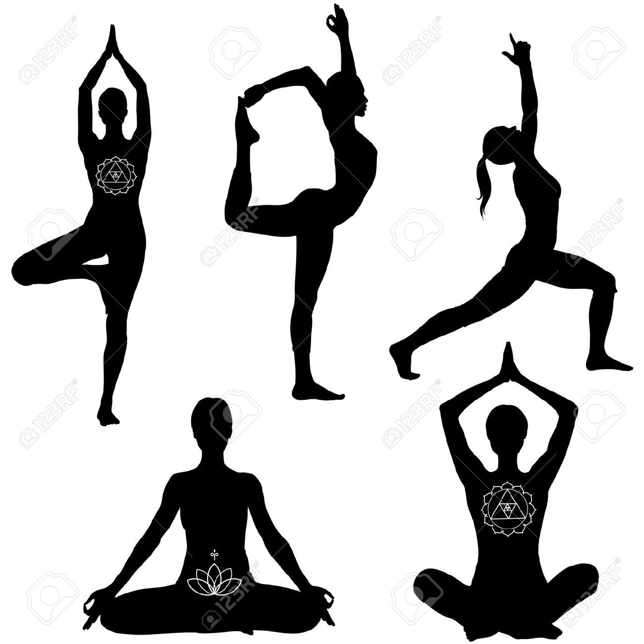 10988094 Yoga Poses Lotus Lord Of The Dance Warrior I And Tree Pose Black Icon Set Stock Vector 1300x1300