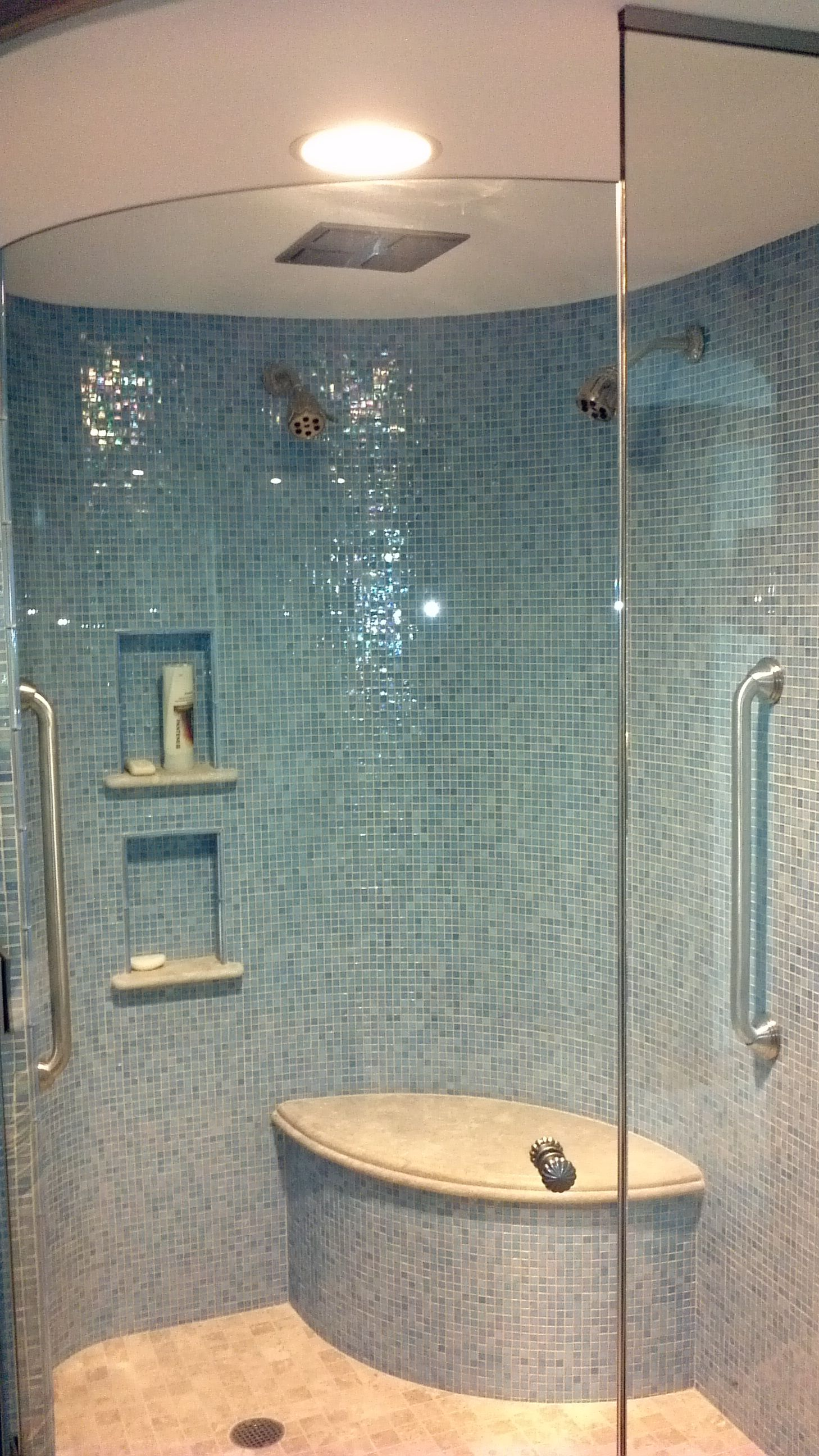 Superb Bathroom Wall Glass Tile Ideas Part - 14: Iridescent Blue Glass Tile Shimmers On Curved Shower Walls!