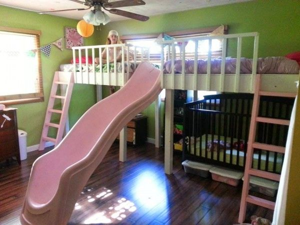 Double Loft Bed Diy Kids Slide Kids Rooms Of All Ages Kid Beds