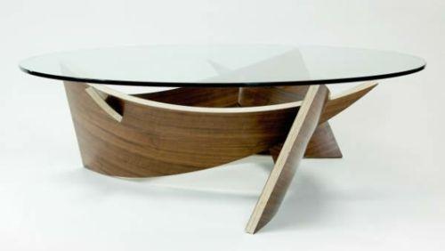 Eigenartige Kaffeetische Glas Platte Holz Sockel Wohnzimmertische Couchtisch Design Couchtisch Holz