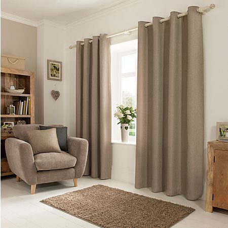 George Home Textured Weave Mink Eyelet Curtains