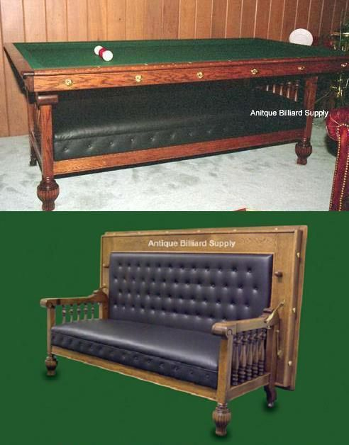 Rare Brunswick Antique Pool Table In The Form Of A Combination Couch And Billiard  Table. Constructed In The Of Solid Oak With U201cacornu201d Designs On The Legs.