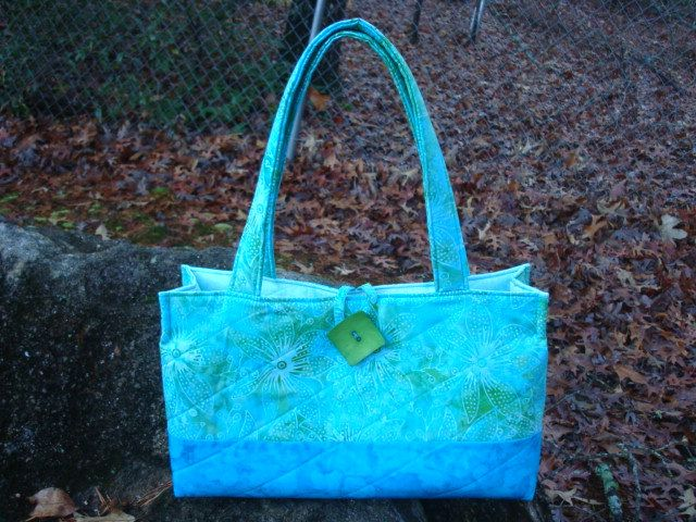 Aqua and Green Tropical Floral Tote Bag Purse by Jackiesewingstudio on Etsy