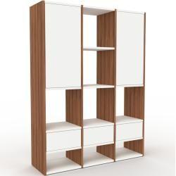 Photo of Regalsystem Nussbaum – Regalsystem: Schubladen in Weiß & Türen in Weiß – Hochwertige Materialien – 1