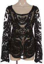 New Black Sheer Crochet Lace Victorian Romantic Stretch Chic Goth Blouse Top S