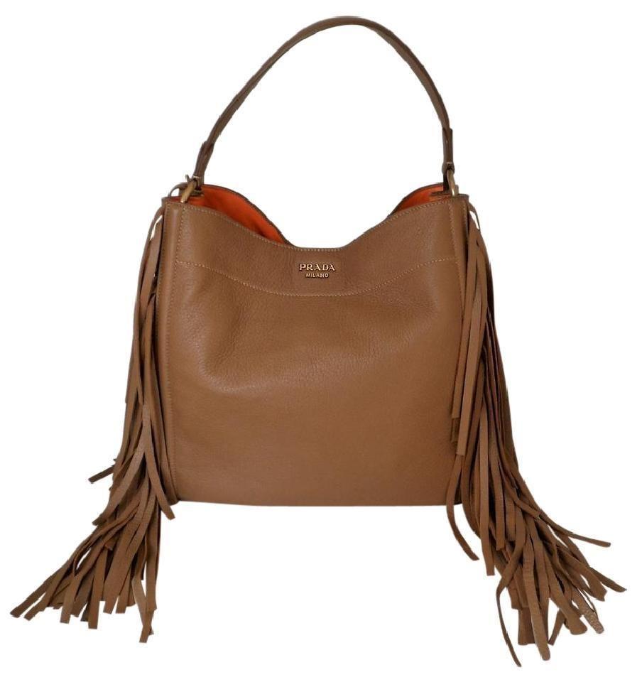 42568fe3e050c1 PRADA Cervo Deerskin Fringe Hobo BR4975 Cammello Shoulder All Leather Bag  $2500 #PRADA #ShoulderBag