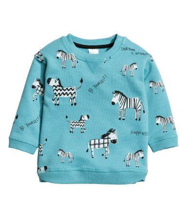 Sweatshirt med motiv | Turkos | Barn | H&M SE