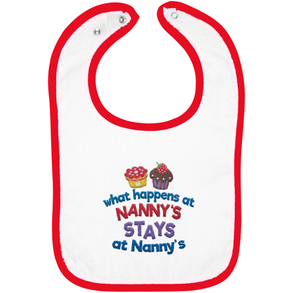 What Happens At Nannys - Embroidered Infant Bib