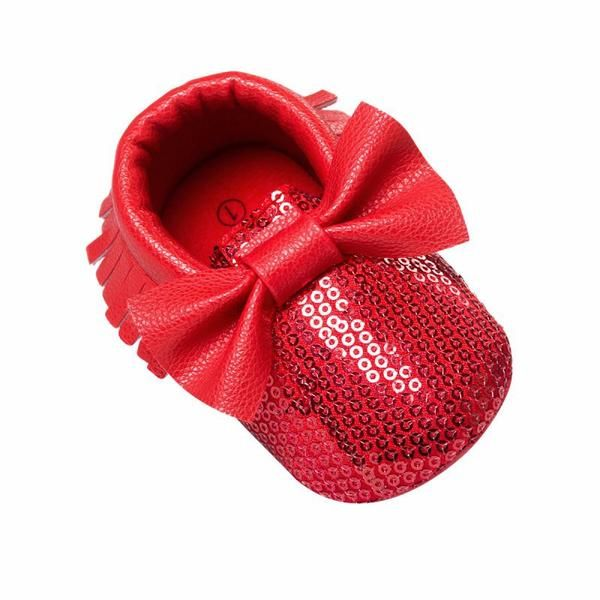 Girls Red Sequin Moccasins Baby Girls Red Sequin Bow Mocassins