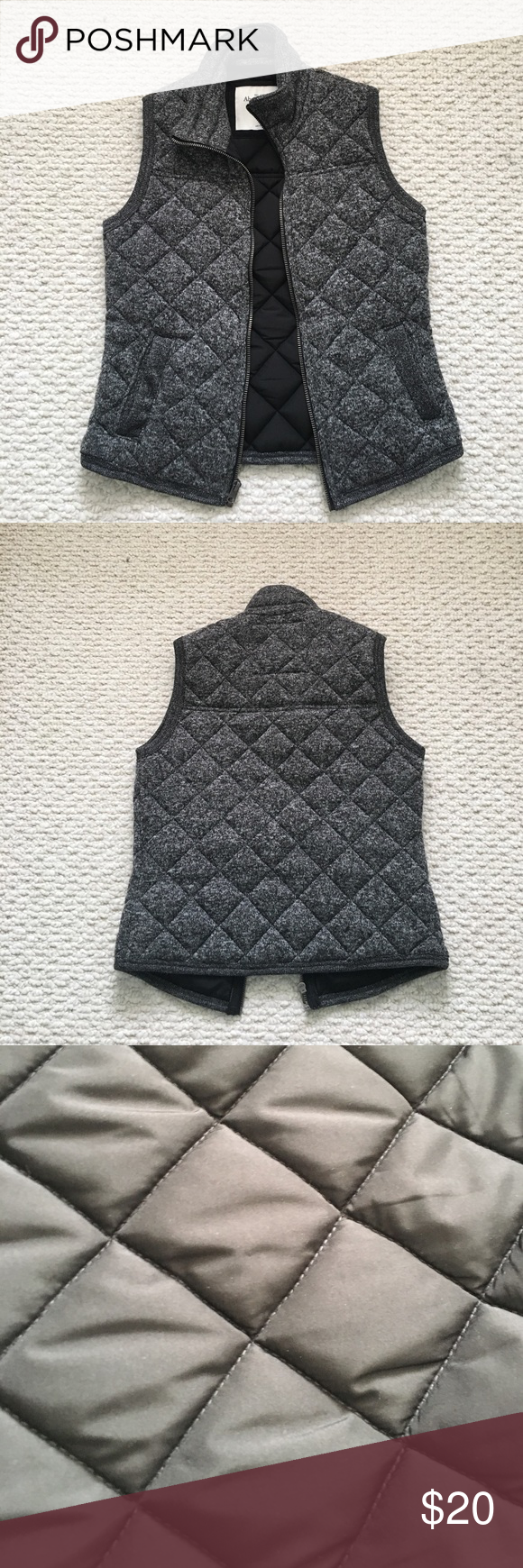 Abercrombie and Fitch quilted vest Grey quilted vest. Very sleek and fashionable. Only worn twice. Abercrombie & Fitch Jackets & Coats Vests