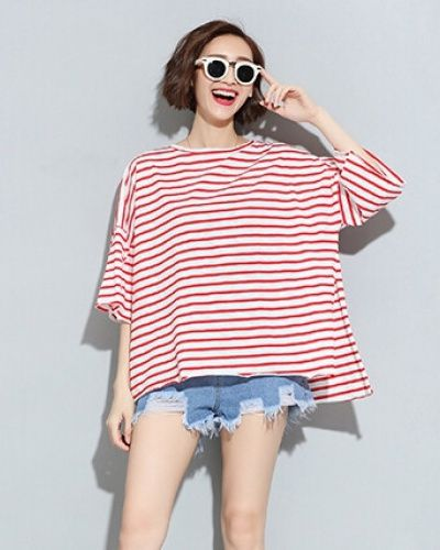 d6ea9913a11b Oversize stripe t shirt for women loose short sleeve t shirts ...
