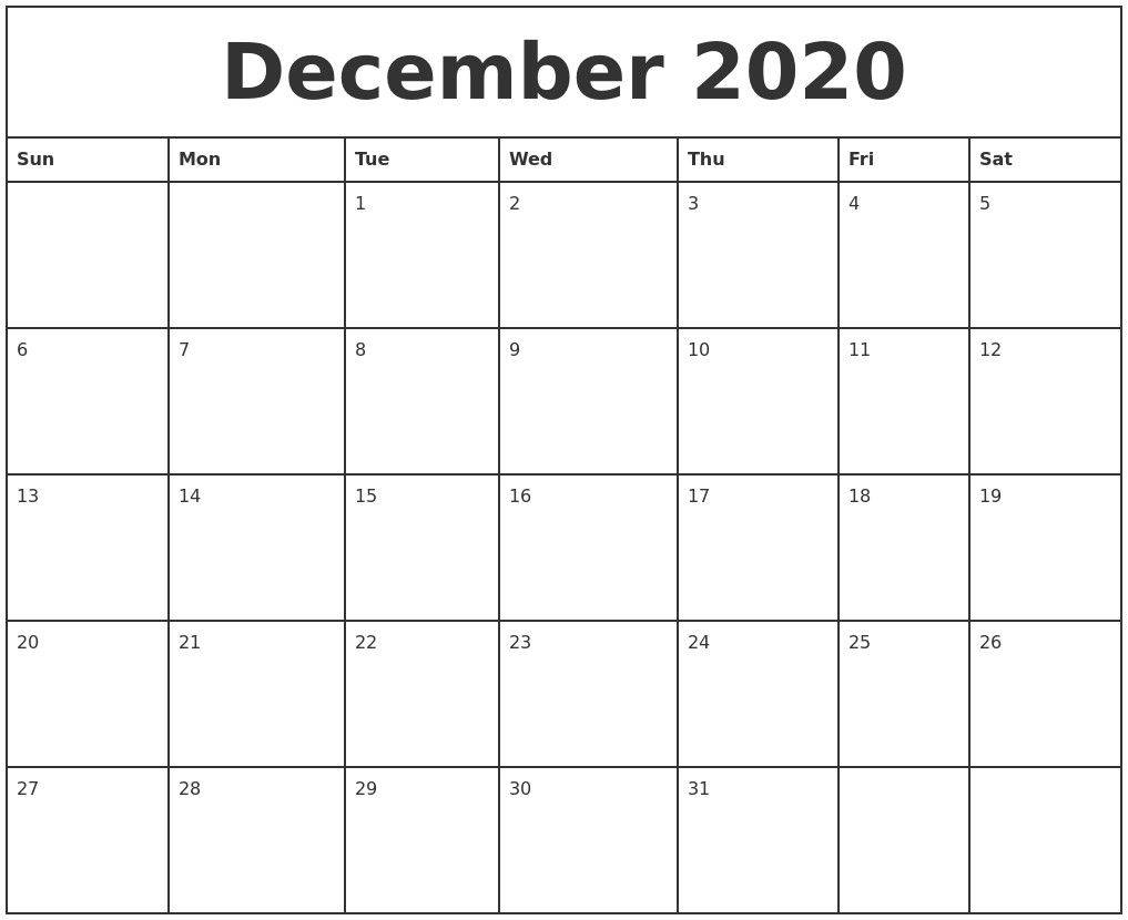 Printable December 2020 Calendar Monthly Calendar Printable