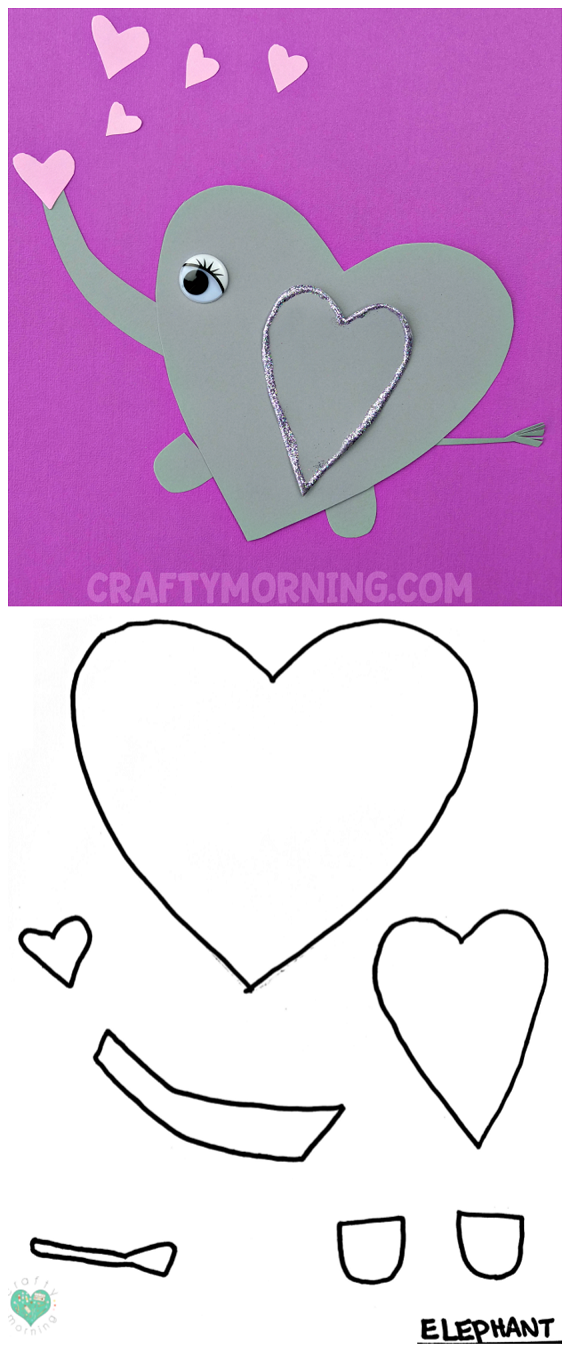 Free Printable Templates of Heart Shape Animals | Elephant ...