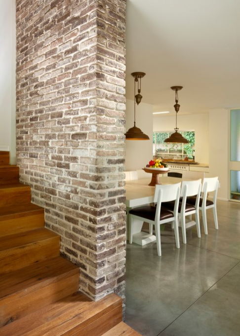 Faux Brick Wall Going Up Stairs With Images Brick Interior Wall Brick Wall Paneling Faux Brick Walls