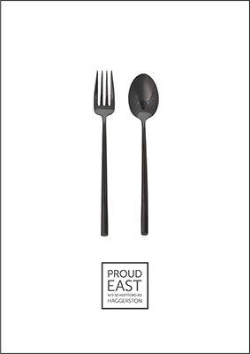 Proud East Restaurant Fork Spoon Menu Blackandwhite Cute Eastlondon