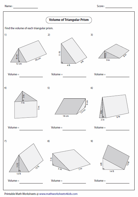 Volume of Triangular Prisms | geometry | Math worksheets ...