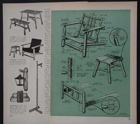 Log Furniture Plans Free  Details about Rustic Cedar Log Furniture 1948  How-To Build