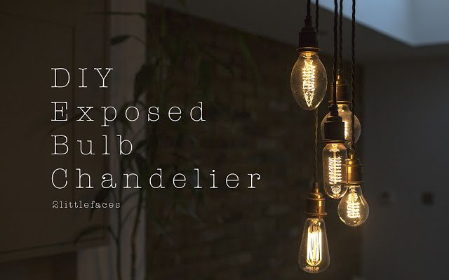 Make Your Own Exposed Bulb Chandelier