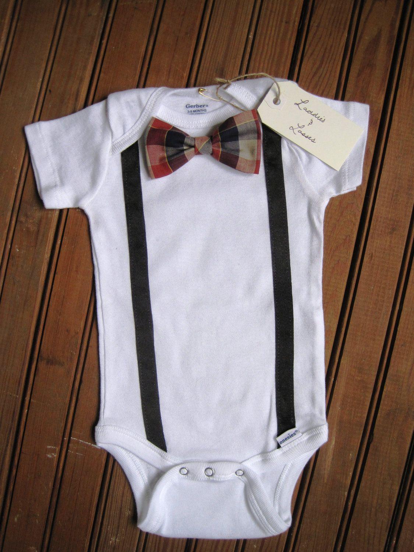 Short Sleeve Bow Tie Onesie with Suspenders, Suspender ...