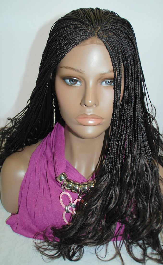 Fully Hand Braided Lace Front Wig Micro Braids Color 2 In 20 Inches Linda