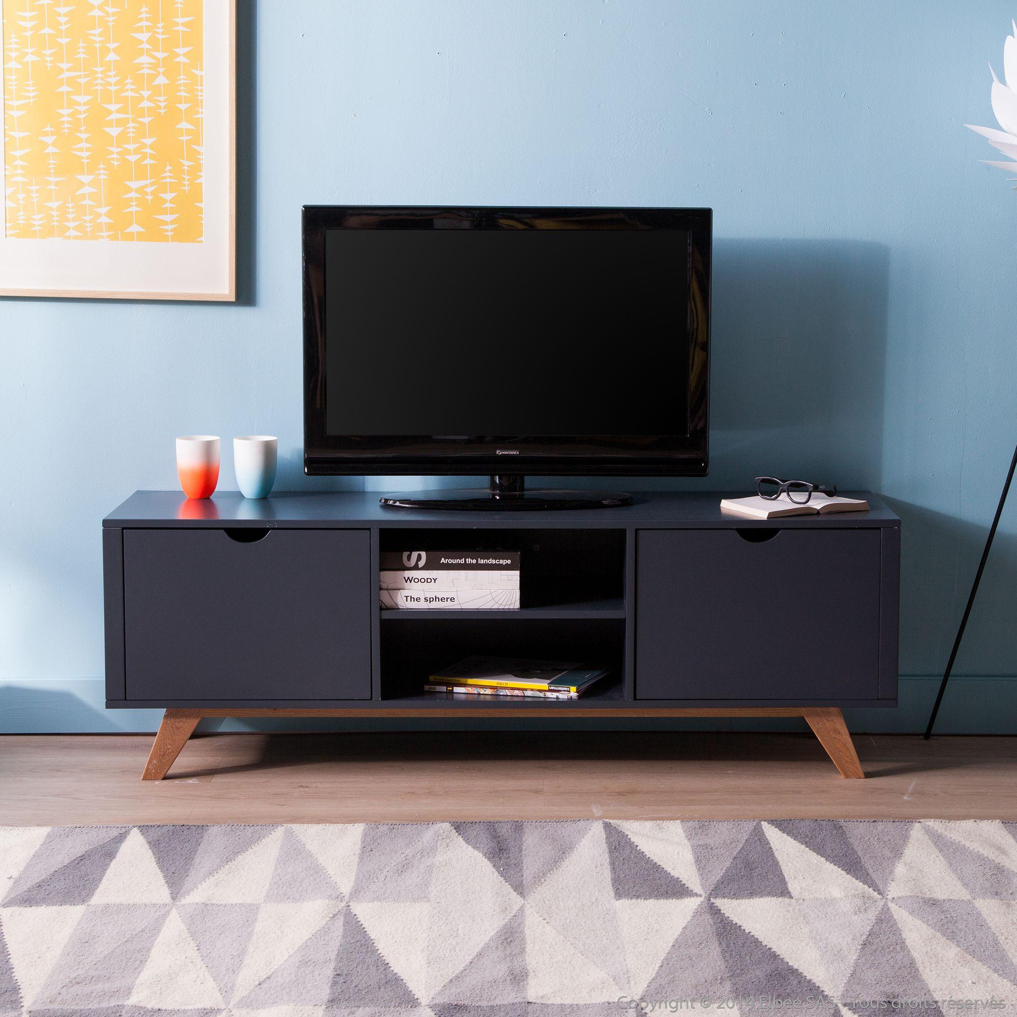 Meuble TV bas en bois avec 2 portes et 2 niches L150cm PABLO 309 ...